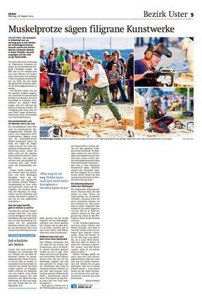 Migros Magazin 25.8.2014 Foto von Maag-isch® Thomas Jud Sieger Kettensägenschnitzen 2014