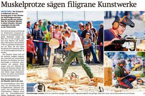"""Medien Zeitungsartikel """"Holzerchilbi"""" Impressionen Kettensägenschnitzen Volketswil 2014 Foto Maag -isch Buttikon Altendorf"""