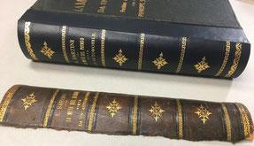 Restauro dorso di libro in pelle con stampa simile Conti Borbone