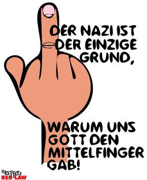 Stinkefinger gibts als Shirt. Facebook-Kommentar von Christina E. : Also, is wahrscheinlich Frauensache, aber ich hab'n viel wichtigeren Grund für meinen Mittelfinger als doofe Nazis.^^ :hust: