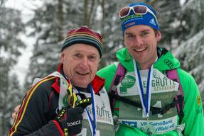 Biathlon Bronzemedaillen Gewinner Franz Bernreiter und LL Weltcup Sieger Josef Wenzl sind Finisher des Schareben Loppet