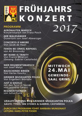 Musikkapelle Grins, Frühjahrskonzert 2017