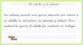 pauta primera fábula 1 en caligrafía