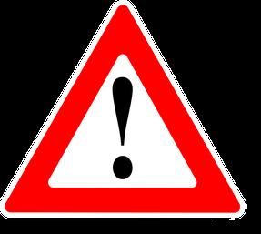 Nebenwirkungen von Liponit, Ausrufezeichen als Symbol (Warnschild)