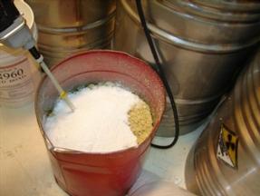 Essai pour déterminer le rapport  polymère / huile