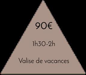 Prix valise de vacances 1h30-2h - 90€