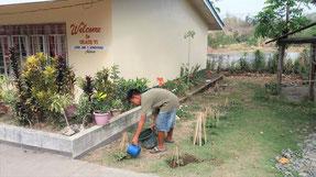 子どもたちが交代で苗木に水をあげます
