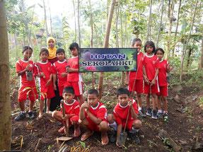 皆で育てている学校の森は、自然観察などの 勉強にも使われています
