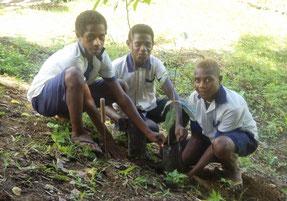 植林活動には、皆で力を合わせて取り組んでいます