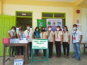 うち106校には、感染対策として、アルコー ル消毒液、石鹸、簡易手洗い場なども支援。