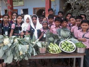 学校で収穫した野菜を並べる子どもたち