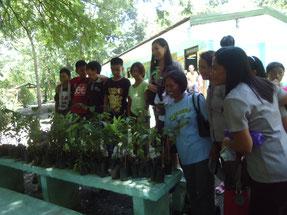 植林の前には、苗木の種類や植え方についてのレクチャーを行います。