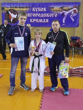 Андрей Петров, Алена Басова и тренер Денис Топузиди