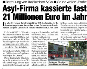 Zeitungsausschnitt: Asyl-Firma kassiert fast 21 Millioenen Euro im Jahr