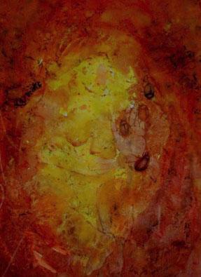 Aquarel in rode en gele tinten: een oude vrouw, glimlacht. In haar rechter hand zit een klein eendje, met haar linkerhand maakt ze een stopgebaar: grenzen stellen. Een oervrouw......