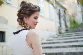 Geflochtene Hochzeitsfrisur