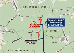 Standort der Windenergieanlage in Oer-Erkenschwick