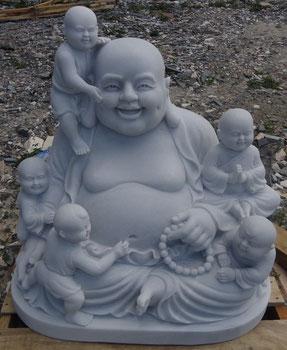 Symbole vom Happy Buddha, dicker Bauch, lachen, Gebetskette, Sack, Perle, Pfirsich, Kinder
