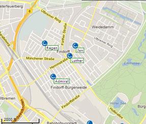 Die fünf bestehenden CarSharing Stationen in Findorff
