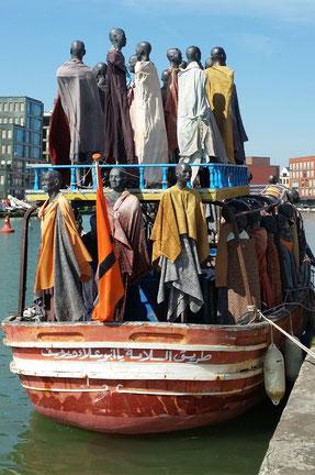 """Ging am 23. /24. August im Hafen von Münster vor Anker: Das ehemalige Flüchtlings- und heutige Ausstellungsboot """"Al-hadj Djumaa"""""""