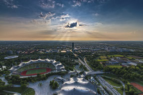 Blick vom Olympiaturm auf den Olympiapark
