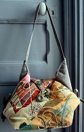 sac,bandoulière, à main,besace,fait main, cabas, France, jaune, gris beau tissu,velours,fabriqué en France, création textile, Bretagne