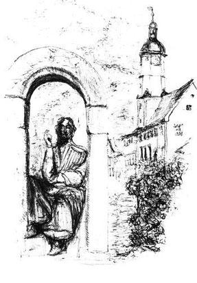 Minnesängerdenkmal und romanisches Rathaus am Markt , Lithografie auf Büttenpapier