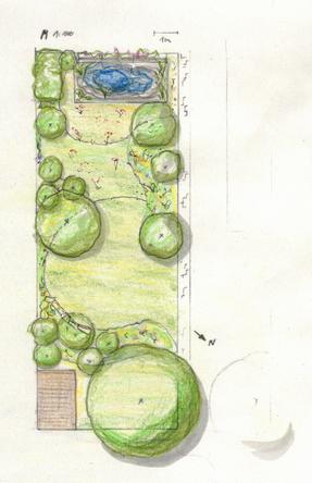 Naturnahe Gestaltung eines kleinen Privatgartens in Berlin Marienfelde, Umsetzung geplant April 2021