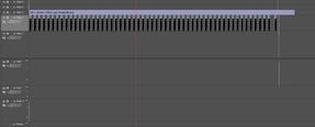 """Die """"Master Timeline"""", wo man oben auf Videospur 2 die Bauchbinden, im regelmäßigen abstand von 30 sekunden sieht"""