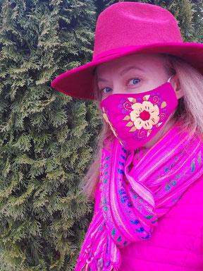 Corona Maske, Alltagsmaske, bunte Mund-Nasen-Schutz, Schutzmaske