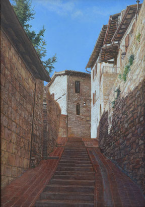 「アッシージの小路」 油彩・板 40x28cm