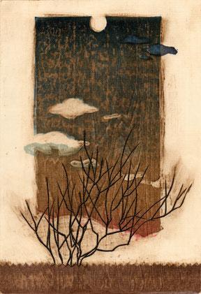 「遠ざかる月」 木版画凹版凸版刷り 22x15cm