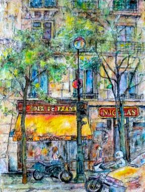 巴里の街路樹 F4 油彩