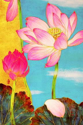 「蒼昊(そうこう)をめざして」 日本画 P4号 税込132,000円