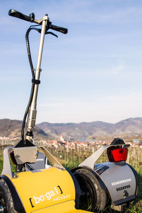Die Wachau Scooter Verleih Outdooraktivität und Freizeitangebot Hotel Erkundung Landschaft Fahrrad und Segway im Weinbaugebiet und Marillenblüte Wein