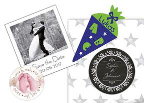 Fotomagnete, Eventaufkleber zur Geburt, Hochzeit und Einschulung, personalisierbares Geschenkpapier