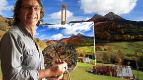Artiste peintre montagnard, peinture d'aprés nature