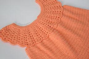 Vestido con canesú redondo tejido a crochet para niñas