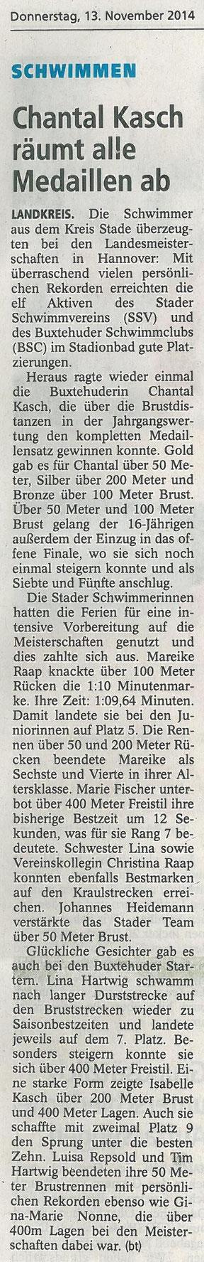 Buxtehuder Tageblatt vom 13.11.2014