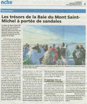 Article sur les traversées et ma démarche, La Gazette