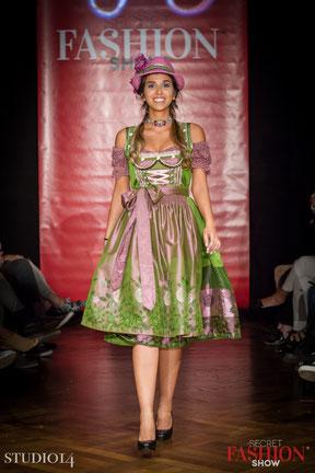 Luxus Dirndl, Designer Dirndl, Dirndl Unikat, elegant grün/rosa