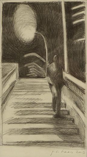 philipp christoph haas | studie zur serie 'nachtRaeume', bleistift auf papier, 2013