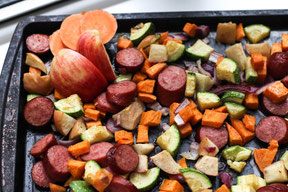 Easy Roasted Sausage, Sweet Potatoes and Apple Sheet Pan Dinner Recipe
