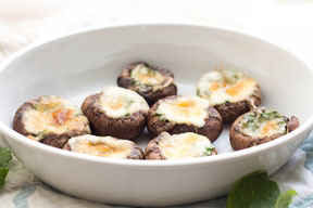 Mozzarella and Spinach Stuffed Mushrooms