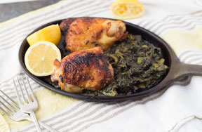 One-Skillet Lemon-Garlic Chicken with Creamed Spinach Recipe