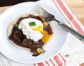 Breakfast Beef and Roasted Veggie Tostadas Recipe