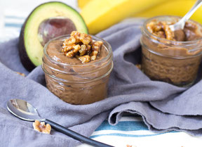 Vegan Chocolate Avocado Pudding with Candied Walnuts