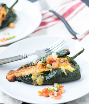 Roasted Bean and Cheese Stuffed Poblanos