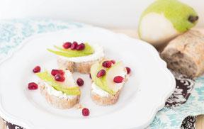 Pear and Pomegranate Crostini