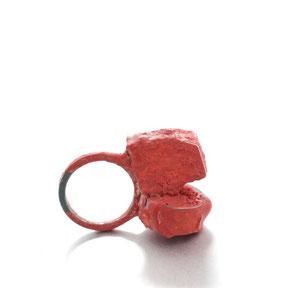 roter RIng von Izabella petrut - Silber, Pigment, Kunstharz